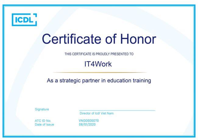 giới thiệu IT4Work chứng nhận hợp tác với ICDL 2