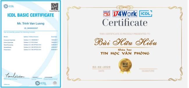 mẫu chứng chỉ ICDL và mẫu chứng nhận hoàn thành khóa học IT4Work