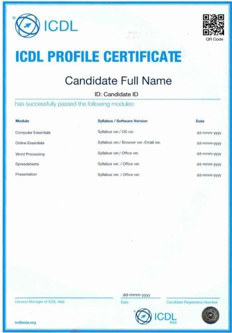 mẫu chứng chỉ tin học quốc tế ICDL trung tâm IT4Work